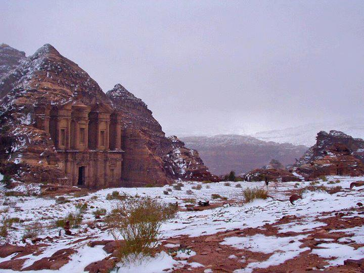 Amazing view of the Jordanian ancient city of Petra, Jordan with fresh snow